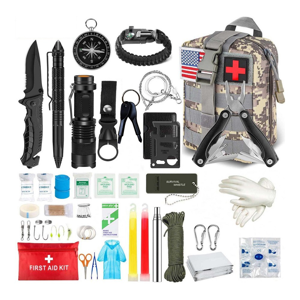 Outdoor survival kit 100 in 1 professional survival equipment first aid kit suitable for camping adventure