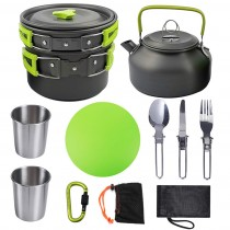 Outdoor camping portable stainless steel frying pan hot water pot tableware 10 pieces/set