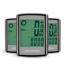 ROCKBROS Bicycle Computer LCD Backlight Stopwatch Wireless Waterproof Speedometer Odometer