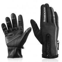 ROCKBROS touch screen cycling gloves winter warm and windproof full-finger cycling gloves