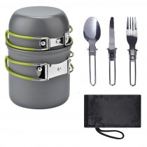 5PC Outdoor Portable Camping Pot 1-2 People Wild Picnic Barbecue Tableware Pot